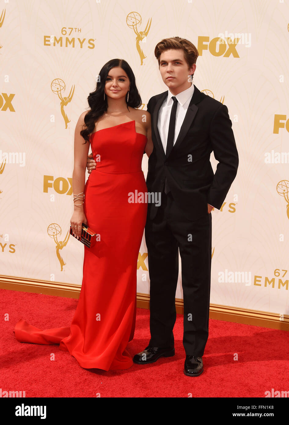 Actress Ariel Winter (L) and Laurent Claude Gaudette attend the 67th Annual Primetime Emmy Awards at Microsoft Theater - Stock Image