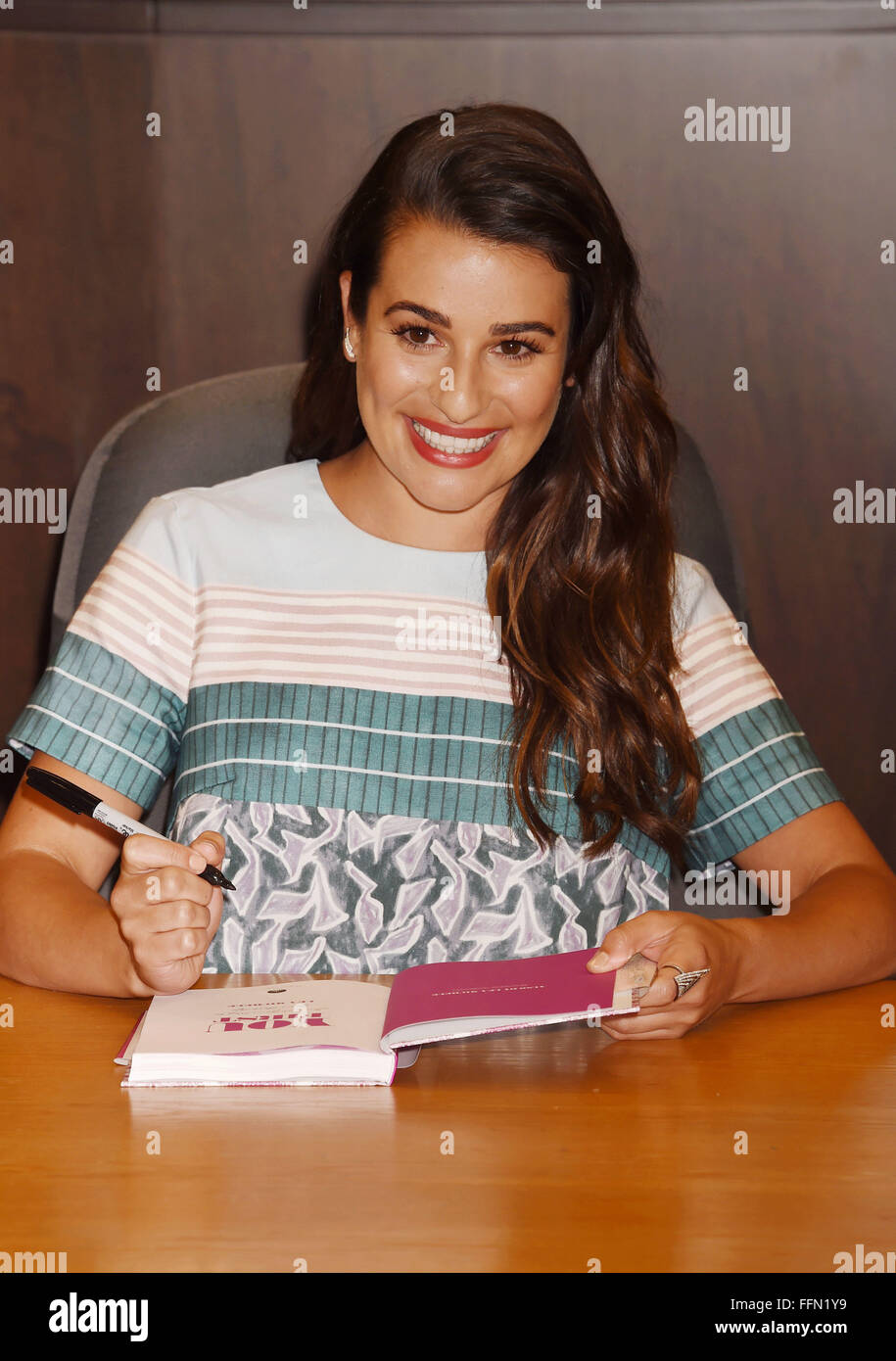 Actress Lea Michele signs copies of her new book 'You First: Journal Your Way to Your Best Life' at Barnes - Stock Image