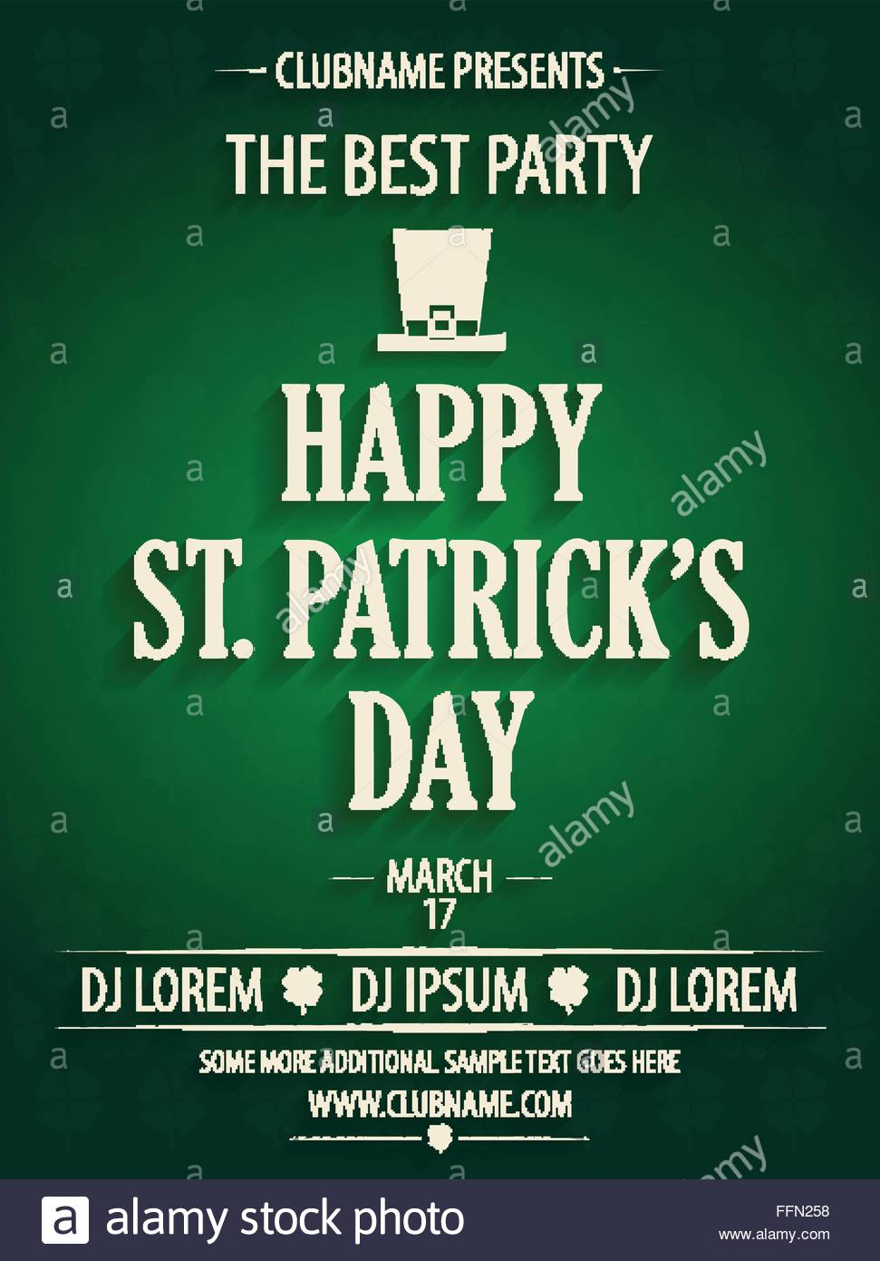 St. Patrick\'s Day party invitation with hat. Vector illustration ...