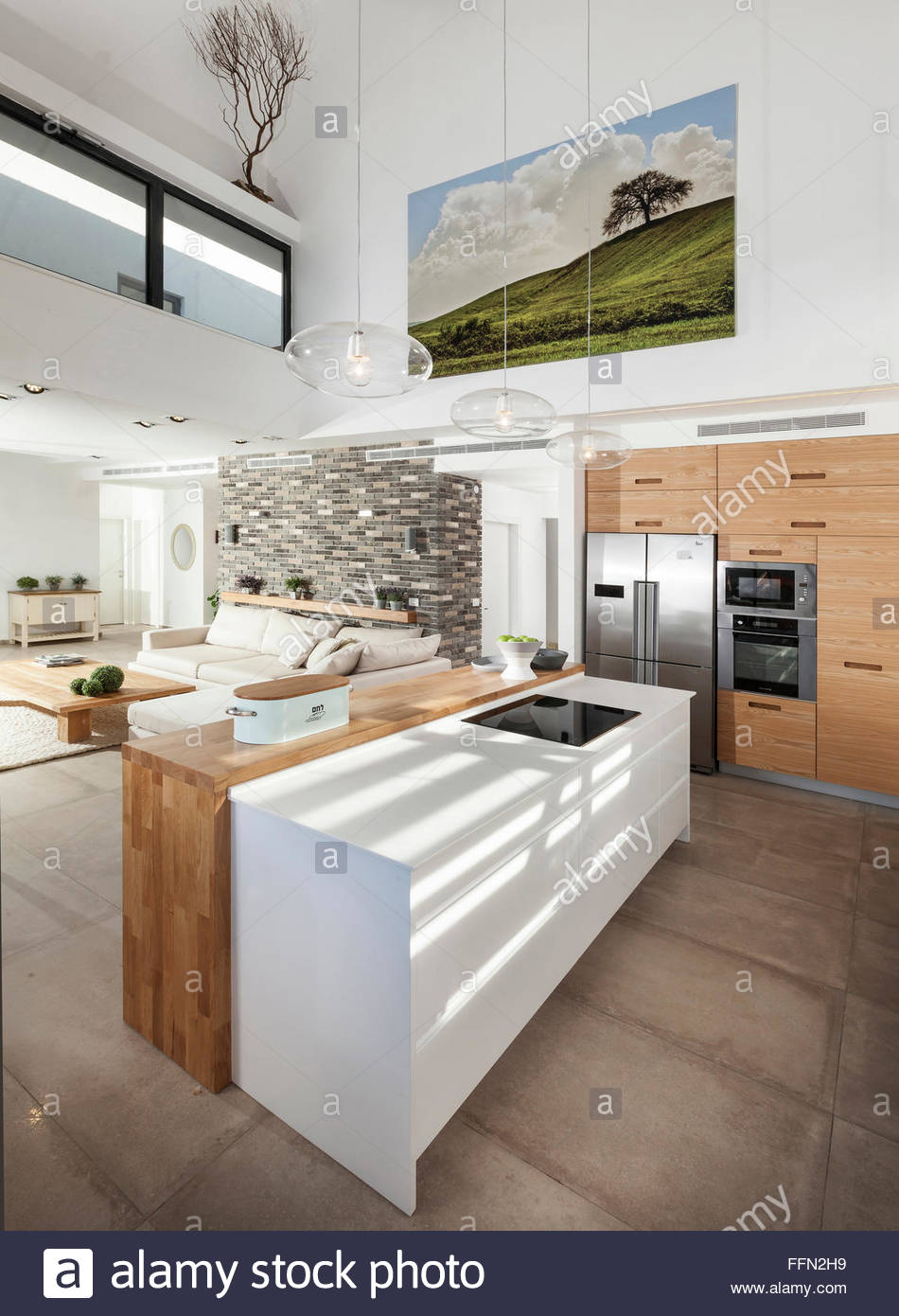 Modern villa in Gan Ner, Israel. A kitchen, large painting, and open ...