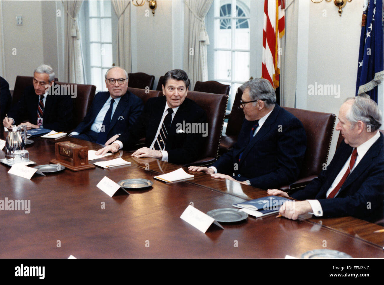 Washington, District of Columbia, USA. 22nd Nov, 2009. United States President Ronald Reagan participates in a meeting - Stock Image