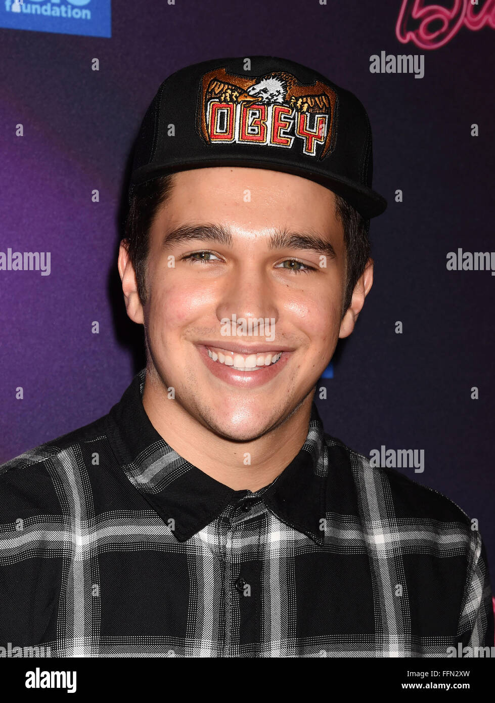 Musician Austin Mahone attends the Barbie Rock 'N Royals Concert Experience at the Hollywood Palladium on September - Stock Image