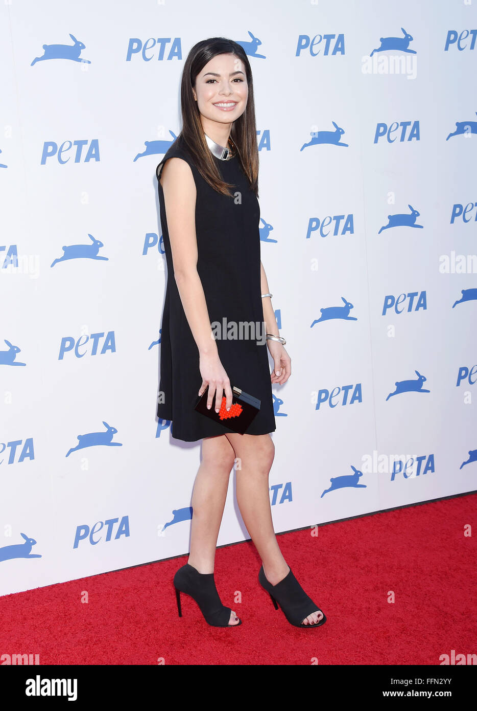 Actress Miranda Cosgrove arrives at PETA's 35th Anniversary Party at Hollywood Palladium on September 30, 2015 in Stock Photo