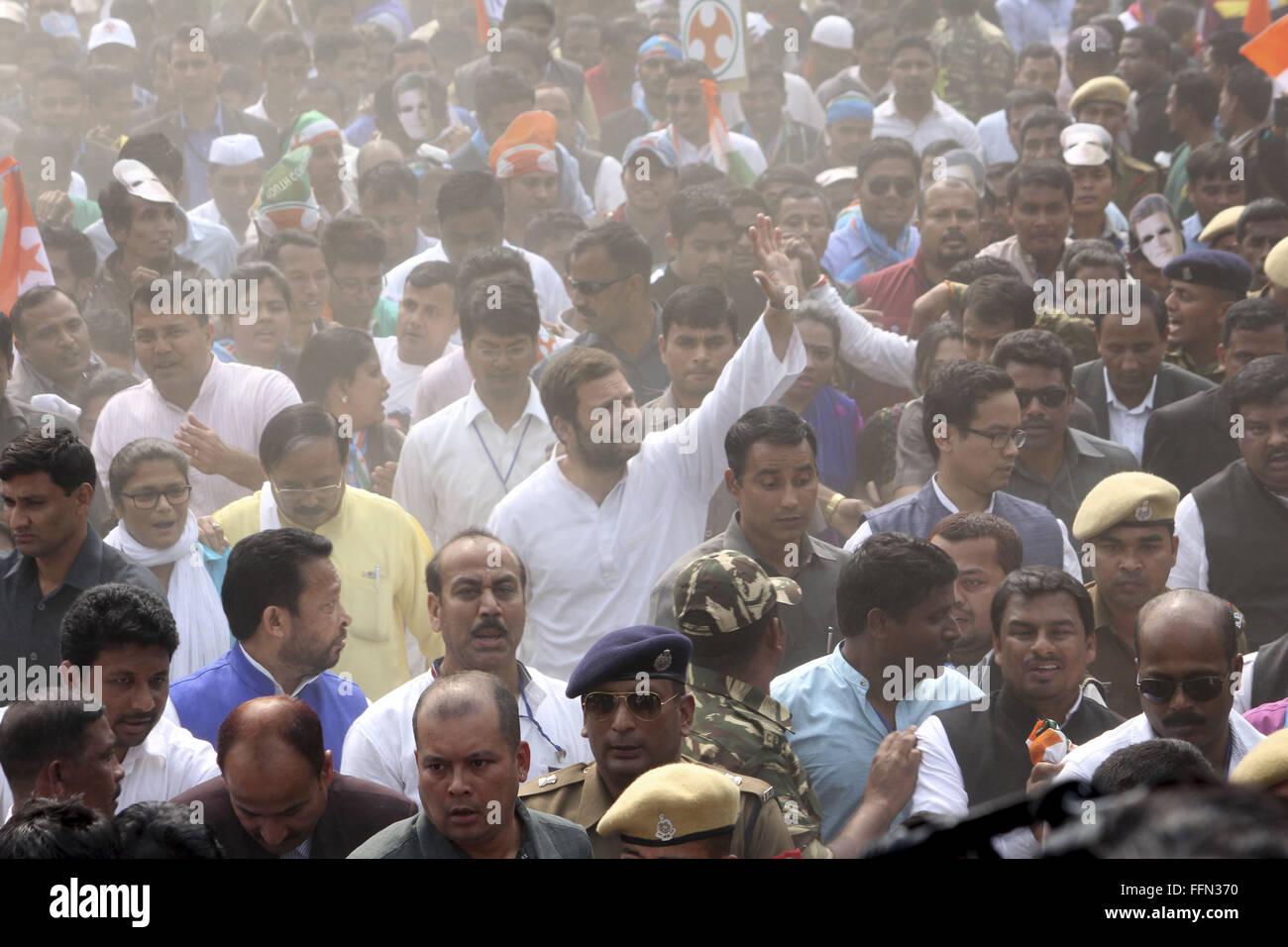 Feb. 16, 2016 - Sivasagar, Assam, India - Indian National Congress Vice President Rahul Gandhi waves during a Padayatra - Stock Image