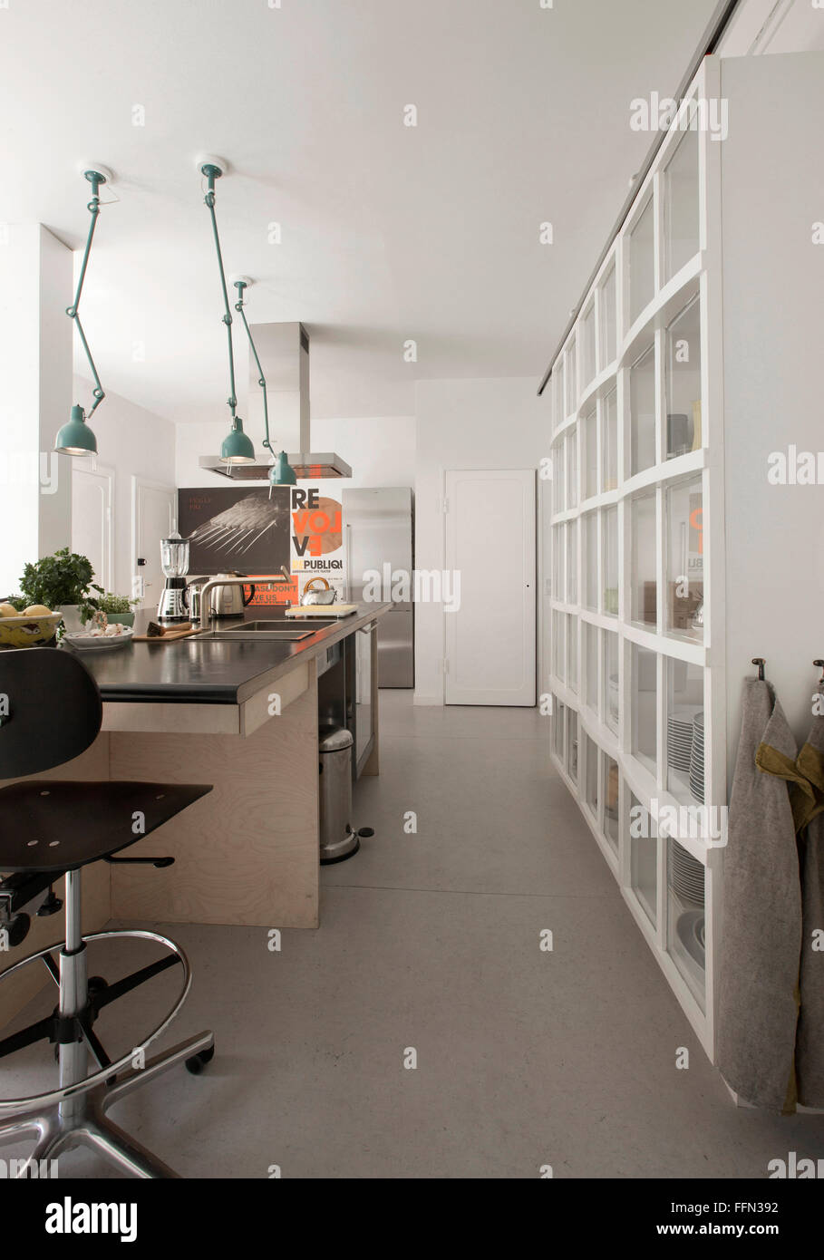 Modernism in the 'Cake House'. A minimalist kitchen. - Stock Image