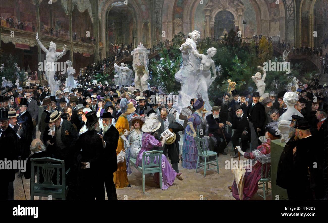 UN VENDREDI AU SALON DES ARTISTES - FRIDAY TO AN EXHIBITION OF FRENCH ARTISTS FRANÇAIS 1911 JULES-ALEXANDRE - Stock Image