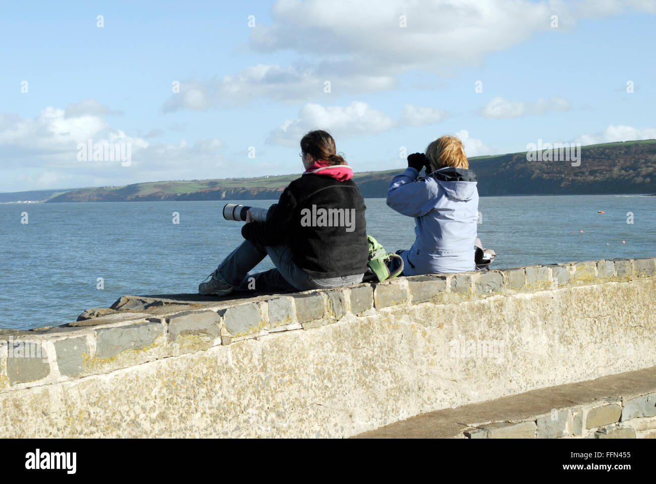 Two young women on the lookout for marine wildlife at Newquay, West Wales. - Stock Image