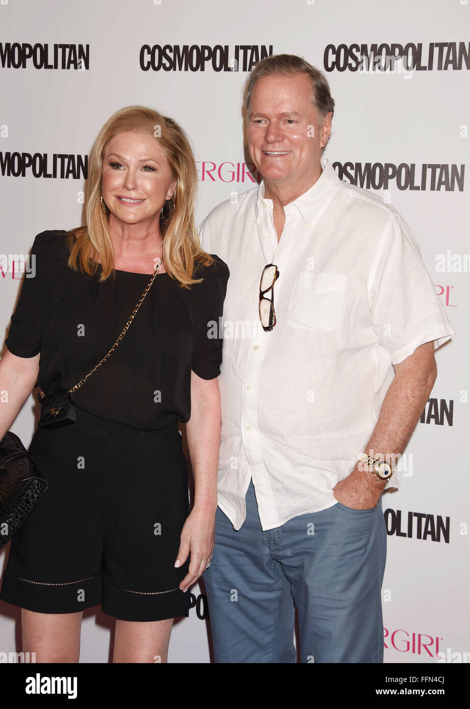 Kathy Hilton and Rick Hilton arrive at Cosmopolitan Magazine's 50th Birthday Celebration at Ysabel on October - Stock Image