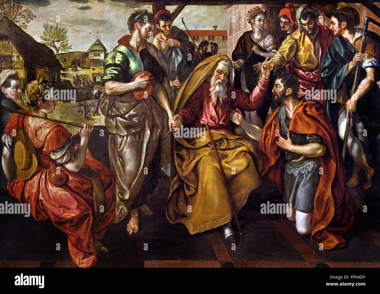 Abraham charged his servant Eliezer to find a wife for his son Isaac. 1563 Flemish Belgian Belgium ( Abraham asked - Stock Image