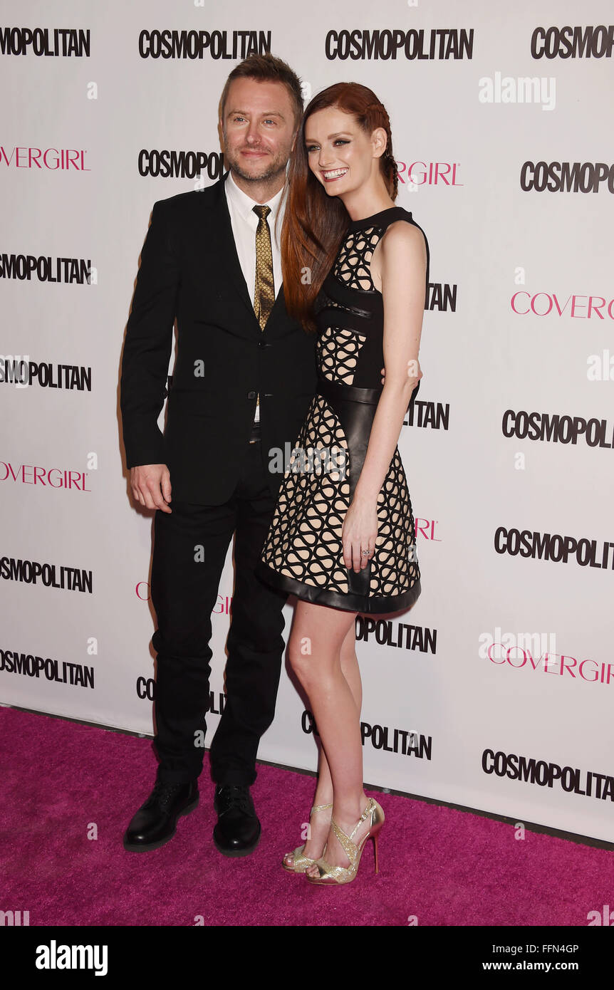 TV personality Chris Hardwick (L) and actress/model Lydia Hearst arrive at Cosmopolitan Magazine's 50th Birthday - Stock Image