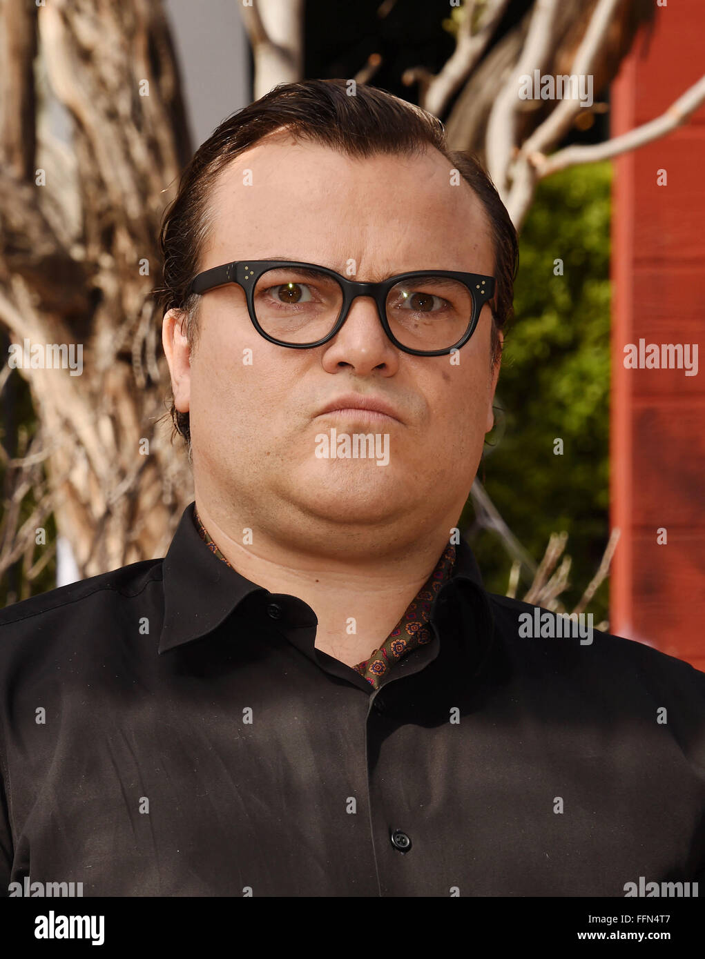 Actor Jack Black attends the Premiere Of Sony Entertainment's 'Goosebumps' at the Regency Village Theater - Stock Image