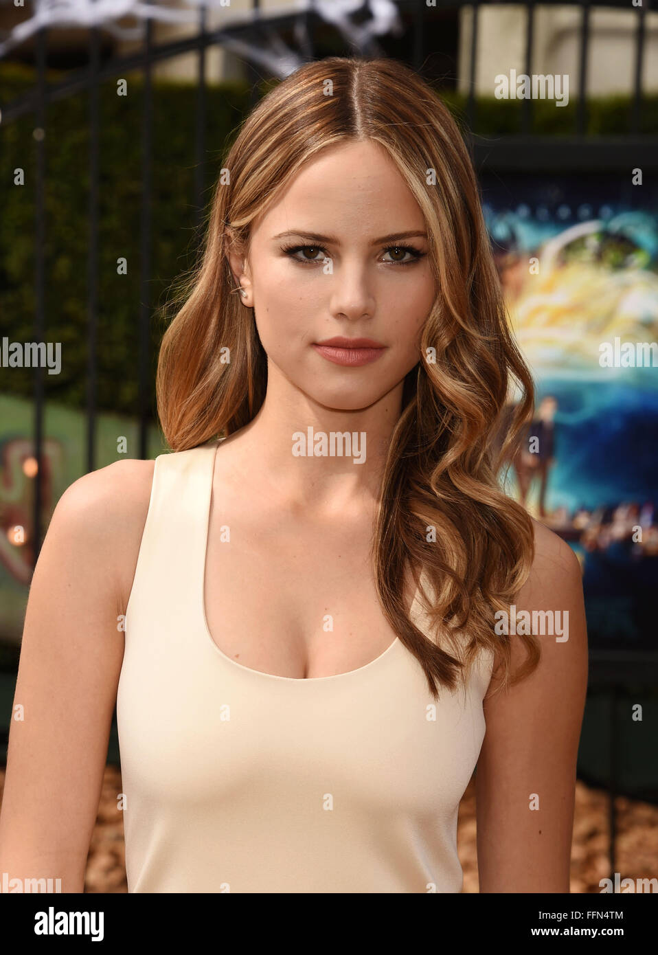 Actress Halston Sage attends the Premiere Of Sony Entertainment's 'Goosebumps' at the Regency Village - Stock Image