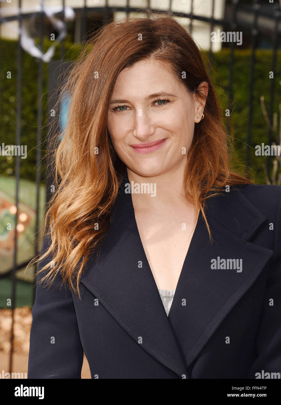 Actress Kathryn Hahn attends the Premiere Of Sony Entertainment's 'Goosebumps' at the Regency Village - Stock Image