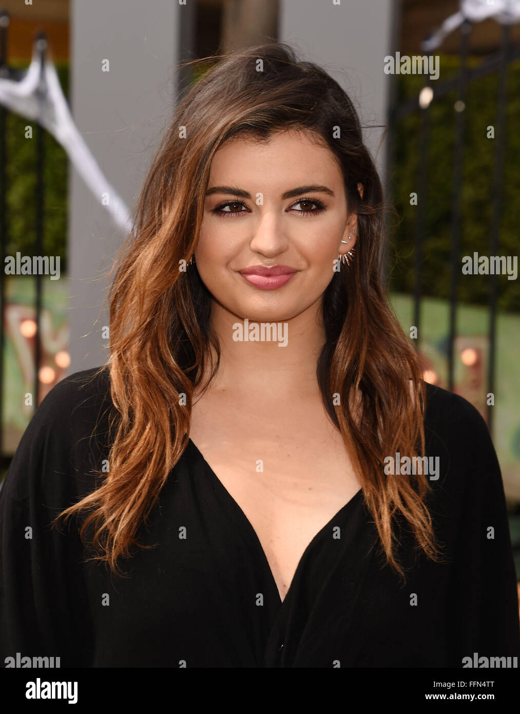 Actress Rebecca Black attends the Premiere Of Sony Entertainment's 'Goosebumps' at the Regency Village - Stock Image
