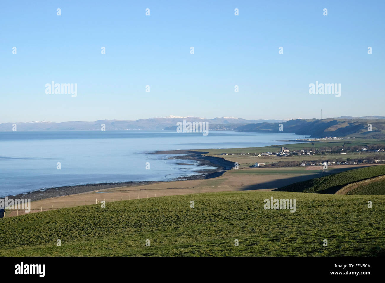 View of West Wales Coast, Cardigan Bay, showing Llanon, Llanrhystud and Beyond.  Cader Idris on the distant skyline. - Stock Image