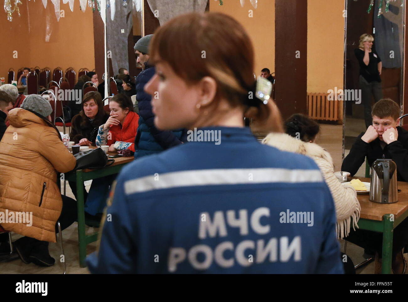 Yaroslavl, Russia. 16th February, 2016. A temporary accommodation facility for those afftected by a blast in a block - Stock Image
