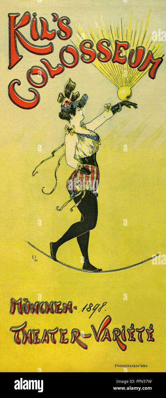 advertising, theatre / theater, Kil's Colosseum, theatre / theater, music hall, artist balancing on a rope, - Stock Image