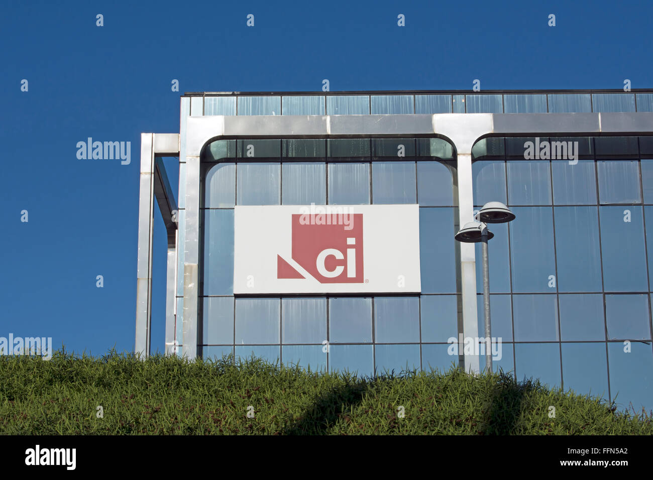 logo for ci, the crime and investigation tv channel, at the headquarters of sky tv, brentford, england - Stock Image