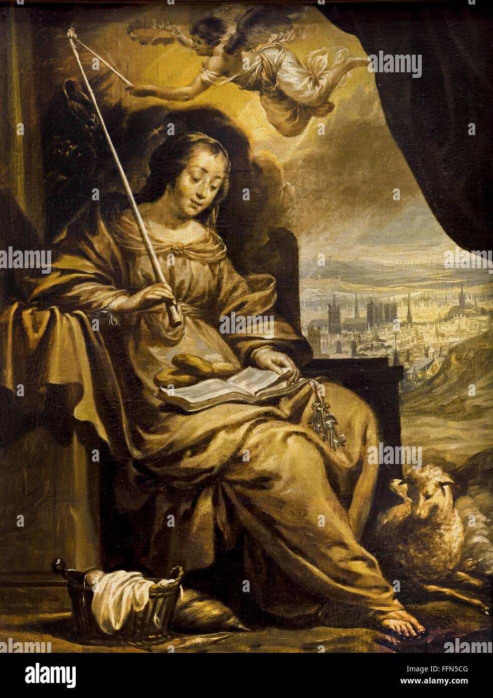 Saint Genevieve byCharles Le Brun 1619-1690  France French Stock Photo