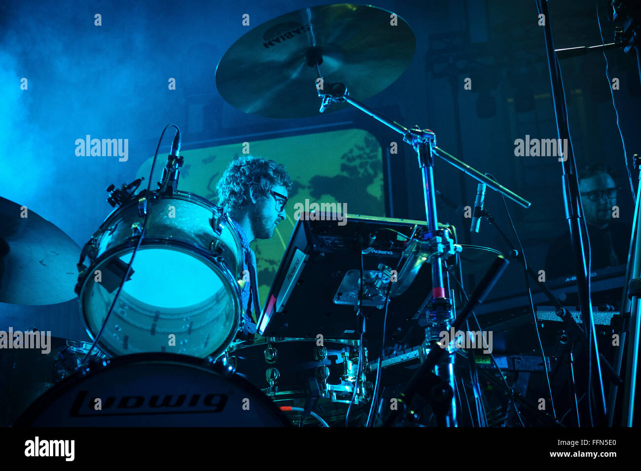 British band, Public Service Broadcasting playing OPEN in Norwich, Norfolk Public Service Broadcasting are a London - Stock Image