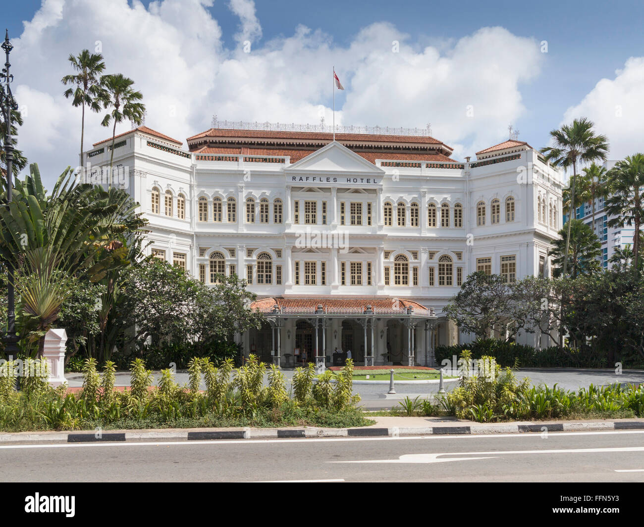 Raffles Hotel, Singapore, Southeast Asia in summer - Stock Image