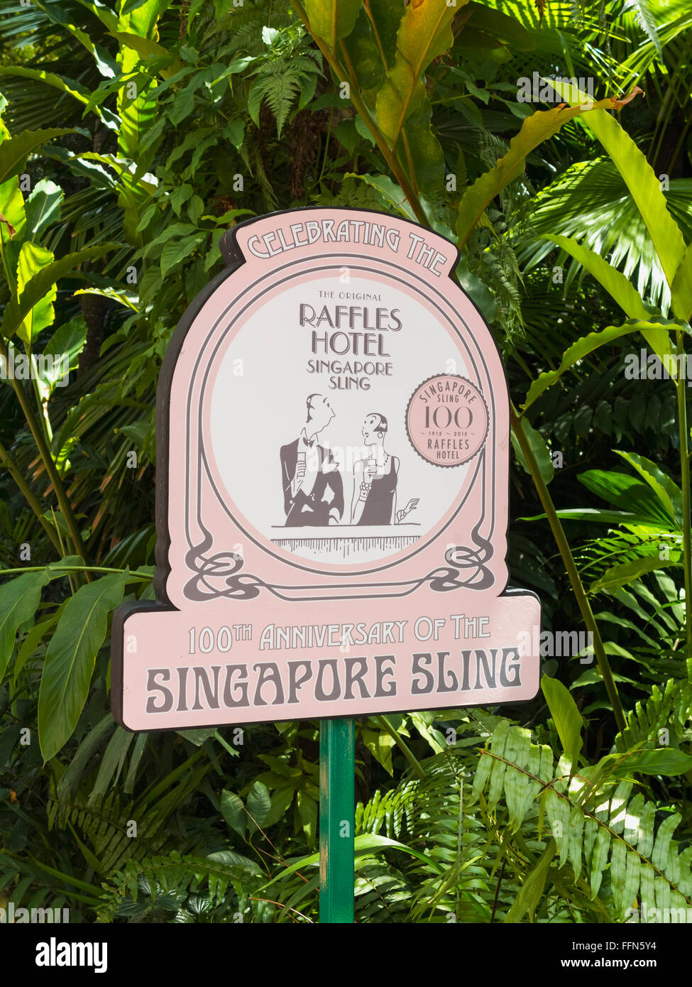 Sign for Singapore Sling at the famous Raffles Hotel, Singapore, Southeast Asia - Stock Image