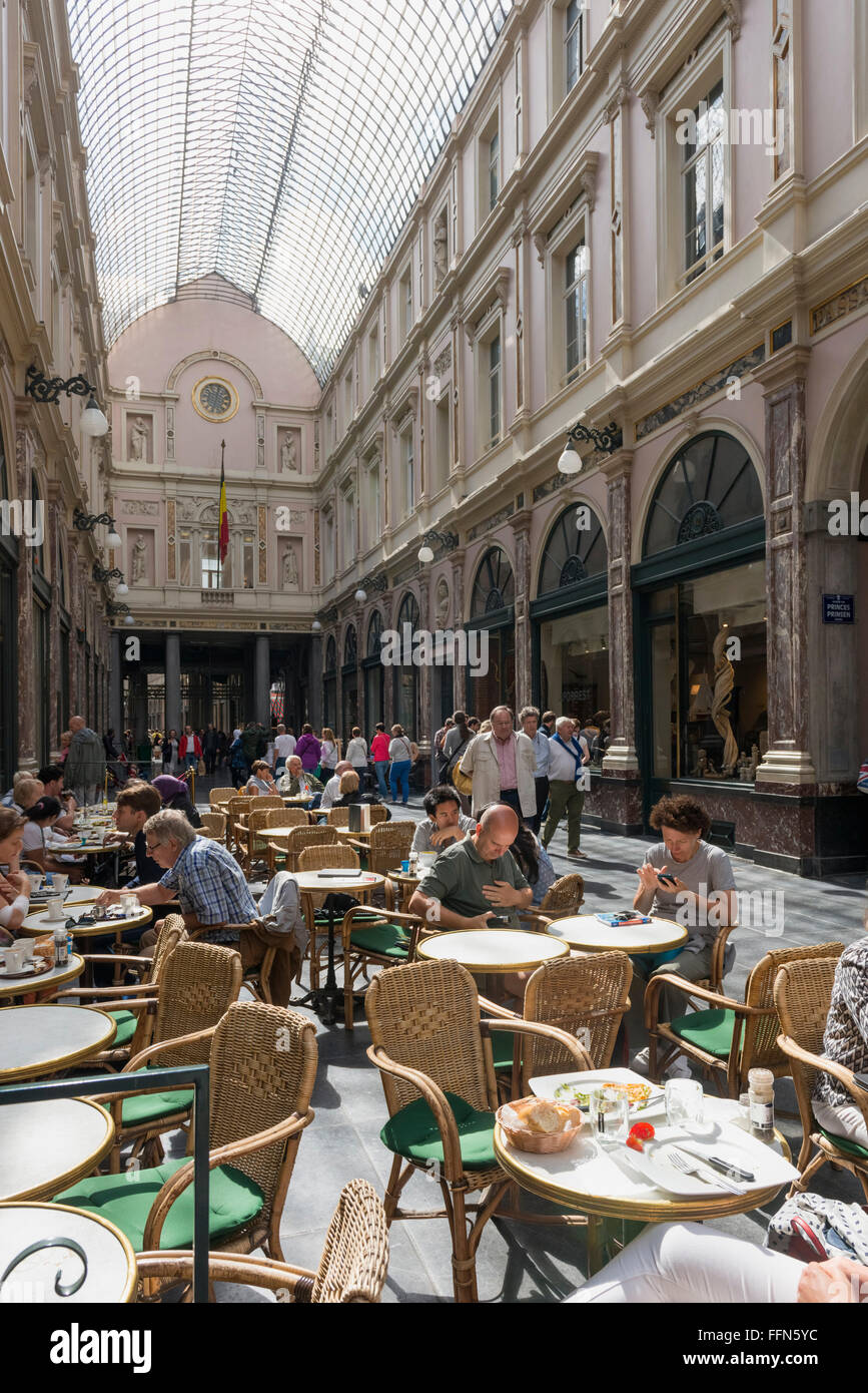 Cafes in the Galeries Royales Saint-Hubert shopping arcade in Brussels, Belgium, Europe in summer Stock Photo