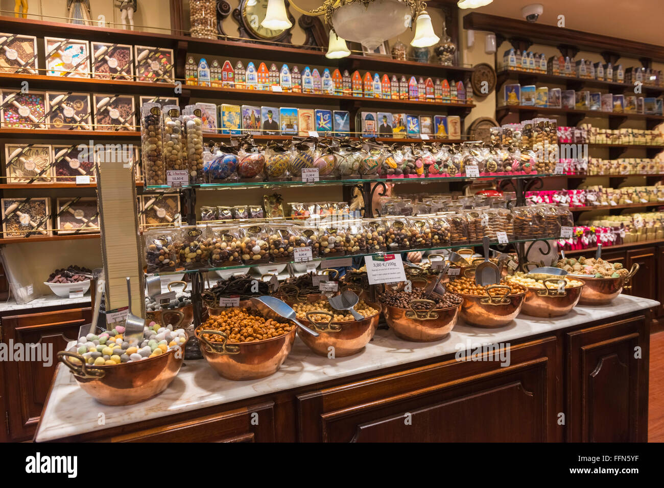 Belgian Chocolates on display inside a chocolate shop in Brussels, Belgium, Europe - Stock Image