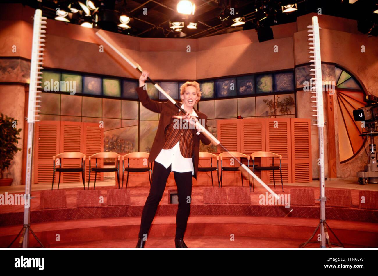 Schaefer, Baerbel, * 16.12.1963, German presenter, half length, during the recording of the 250th episode of her - Stock Image