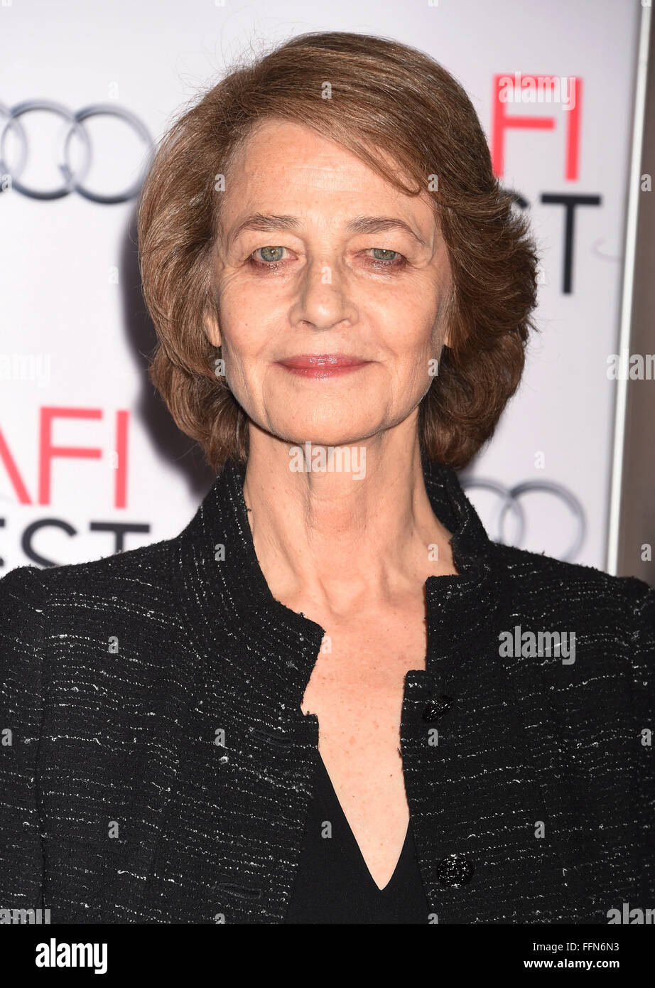 Actress Charlotte Rampling arrives at the AFI FEST 2015 Presented by Audi Tribute to Charlotte Rampling and Tom - Stock Image