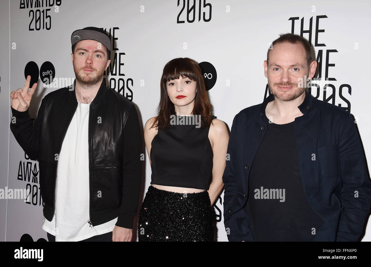 (L-R) Musicians Martin Doherty, Lauren Mayberry and Iain Cook of Chvrches arrive at The Game Awards 2015 / Arrivals - Stock Image