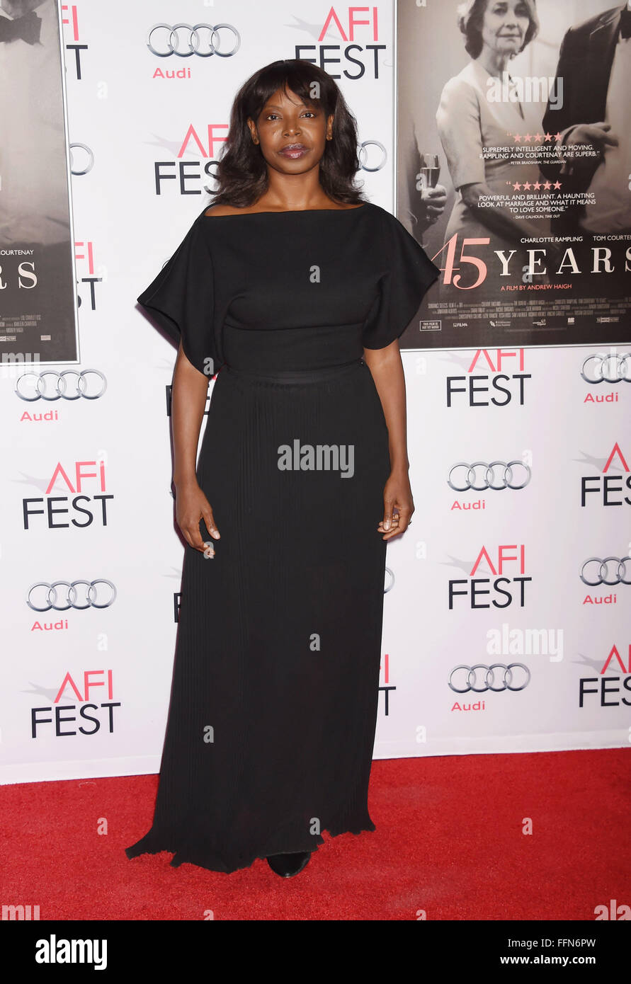 AFI FEST Director Jacqueline Lyanga arrives at the AFI FEST 2015 Presented by Audi Tribute to Charlotte Rampling - Stock Image