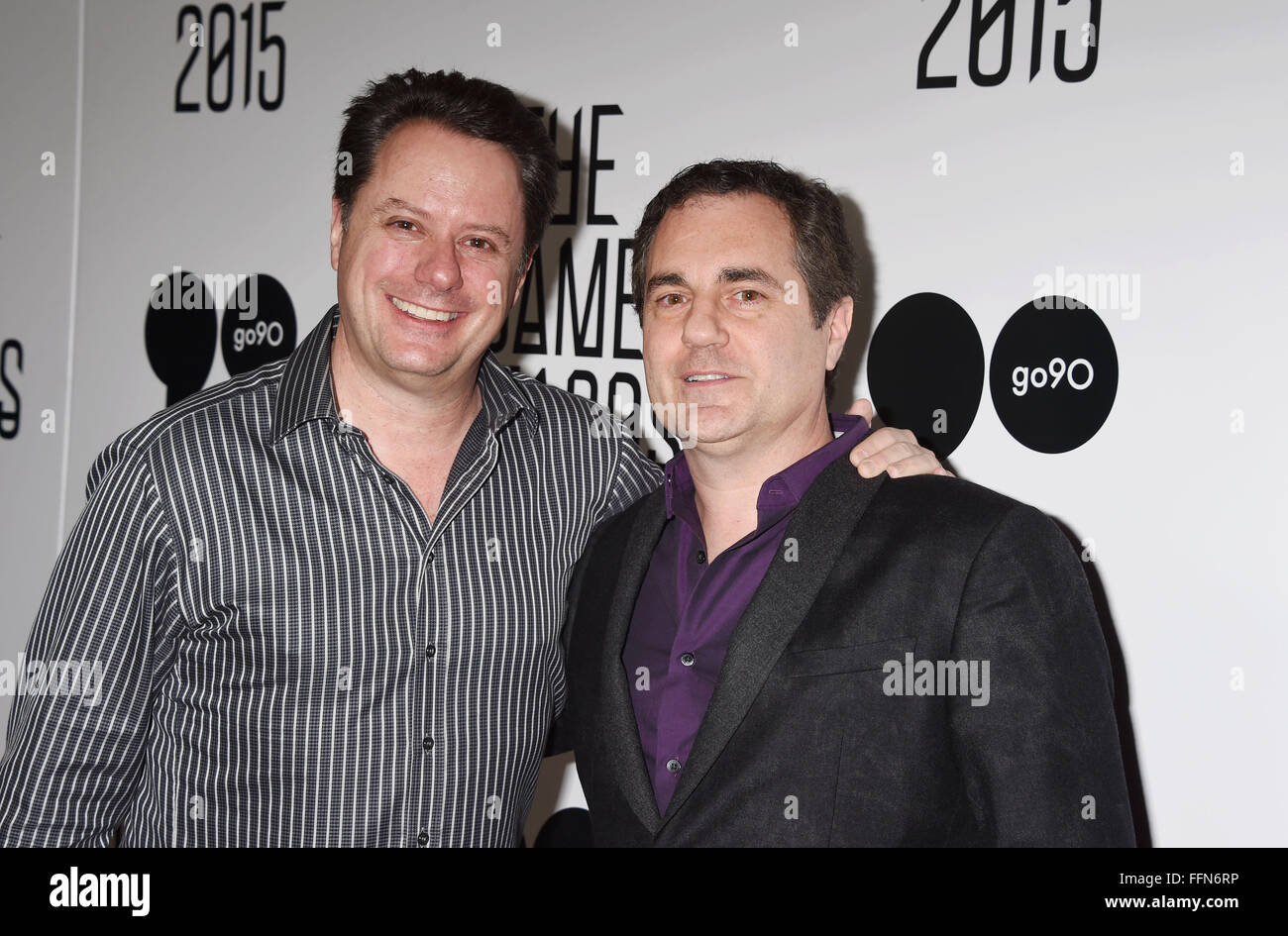 Video game designers and co-founders of Westwood Studios Brett Sperry (L) and Louis Castle arrive at The Game Awards - Stock Image