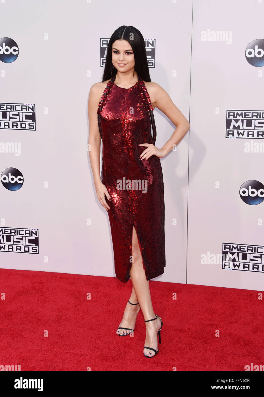 Singer/actress Selena Gomez arrives at the 2015 American Music Awards at Microsoft Theater on November 22, 2015 - Stock Image