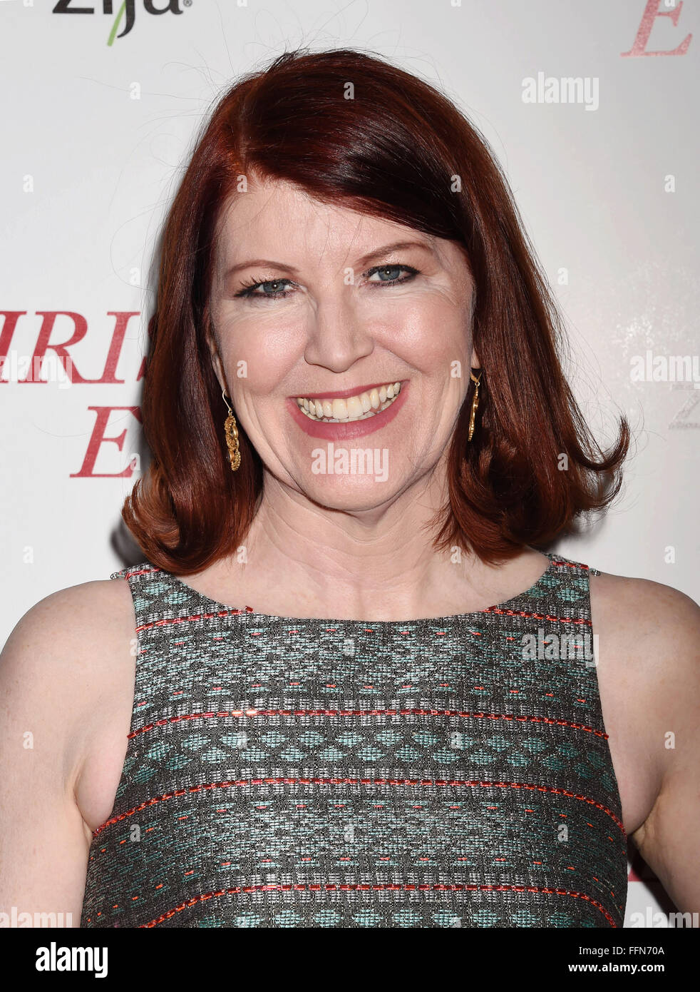 Actress Kate Flannery arrives at the premiere of Unstuck's 'Christmas Eve' at the ArcLight Hollywood - Stock Image