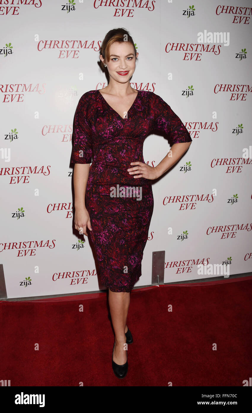 Actress Elvy Yost arrives at the premiere of Unstuck's 'Christmas Eve' at the ArcLight Hollywood on - Stock Image