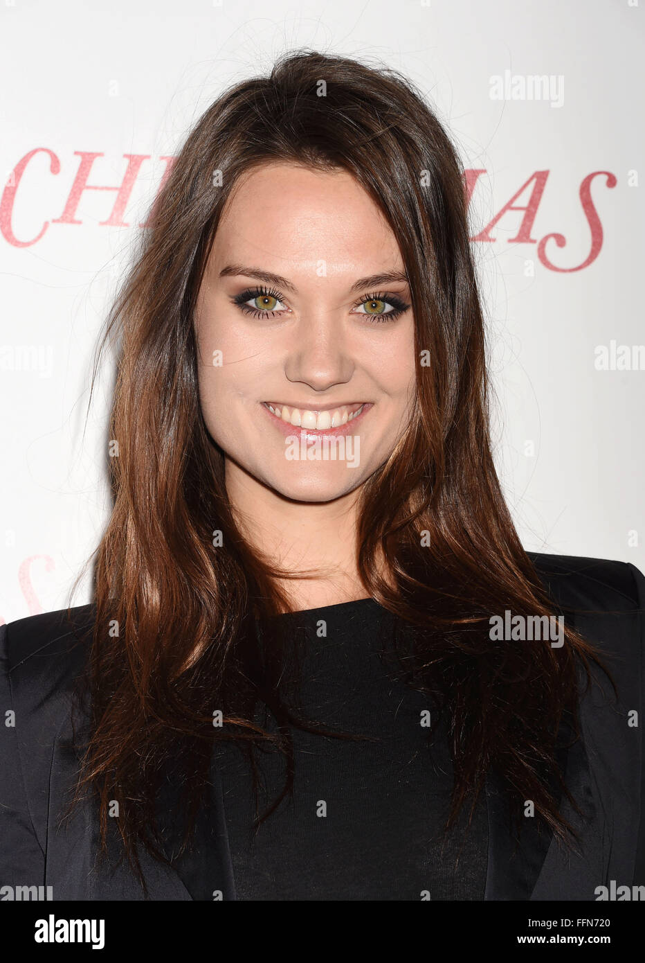 Model Laura James arrives at the premiere of Unstuck's 'Christmas Eve' at the ArcLight Hollywood on - Stock Image