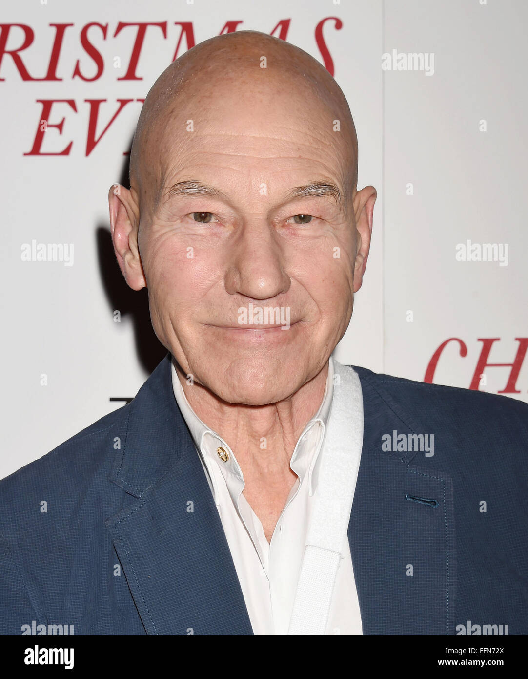 Actor Patrick Stewart arrives at the premiere of Unstuck's 'Christmas Eve' at the ArcLight Hollywood - Stock Image