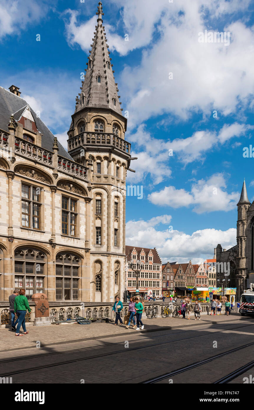 Old Post Office building in the old town of Ghent, Belgium, Europe - Stock Image