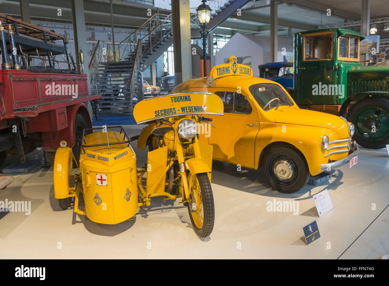 Old historic vehicles on display in Autoworld museum, Brussels, Belgium, Europe - Stock Image