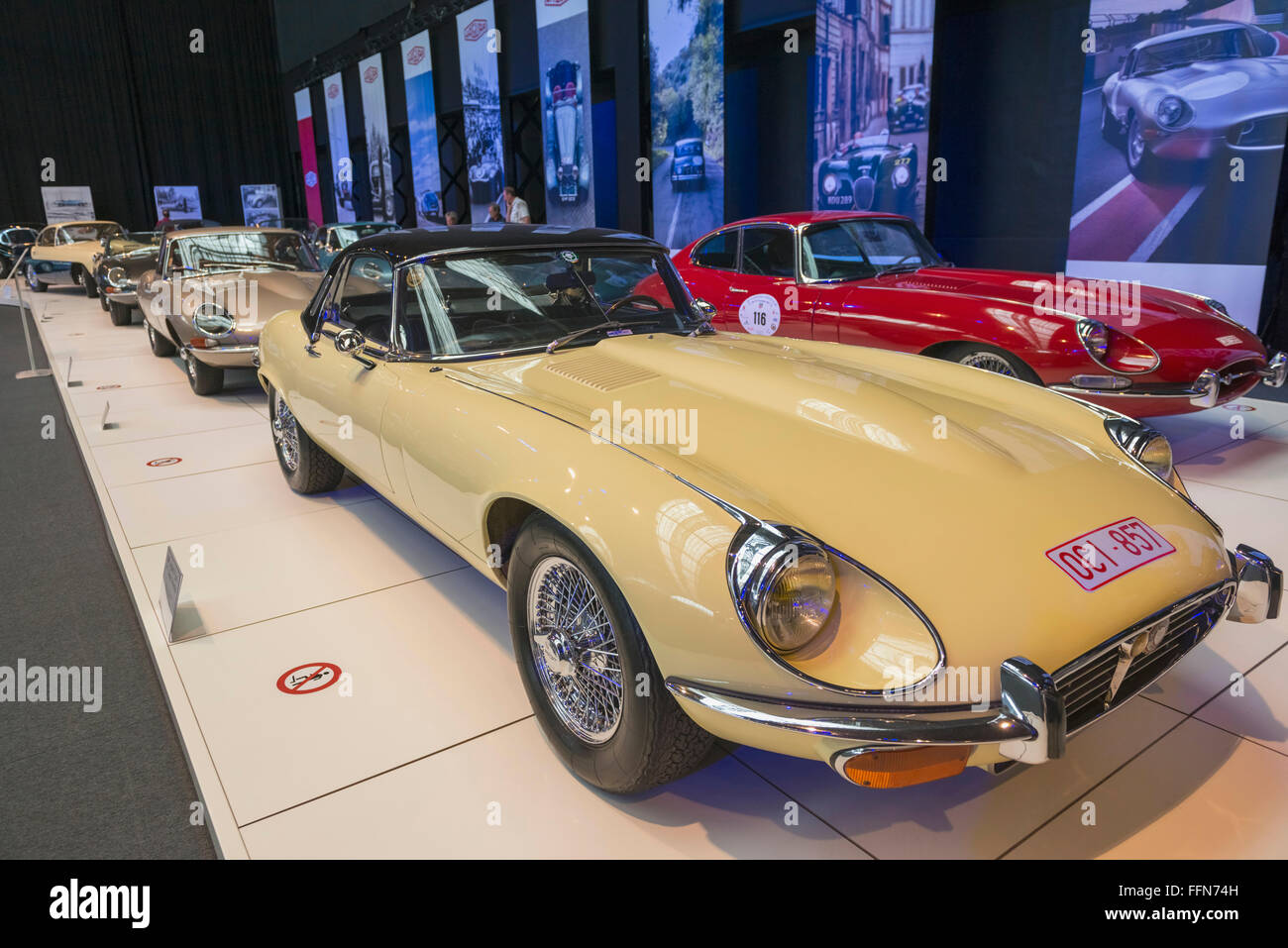 Classic cars inside the Autoworld car museum, Brussels, Belgium, Europe - Stock Image