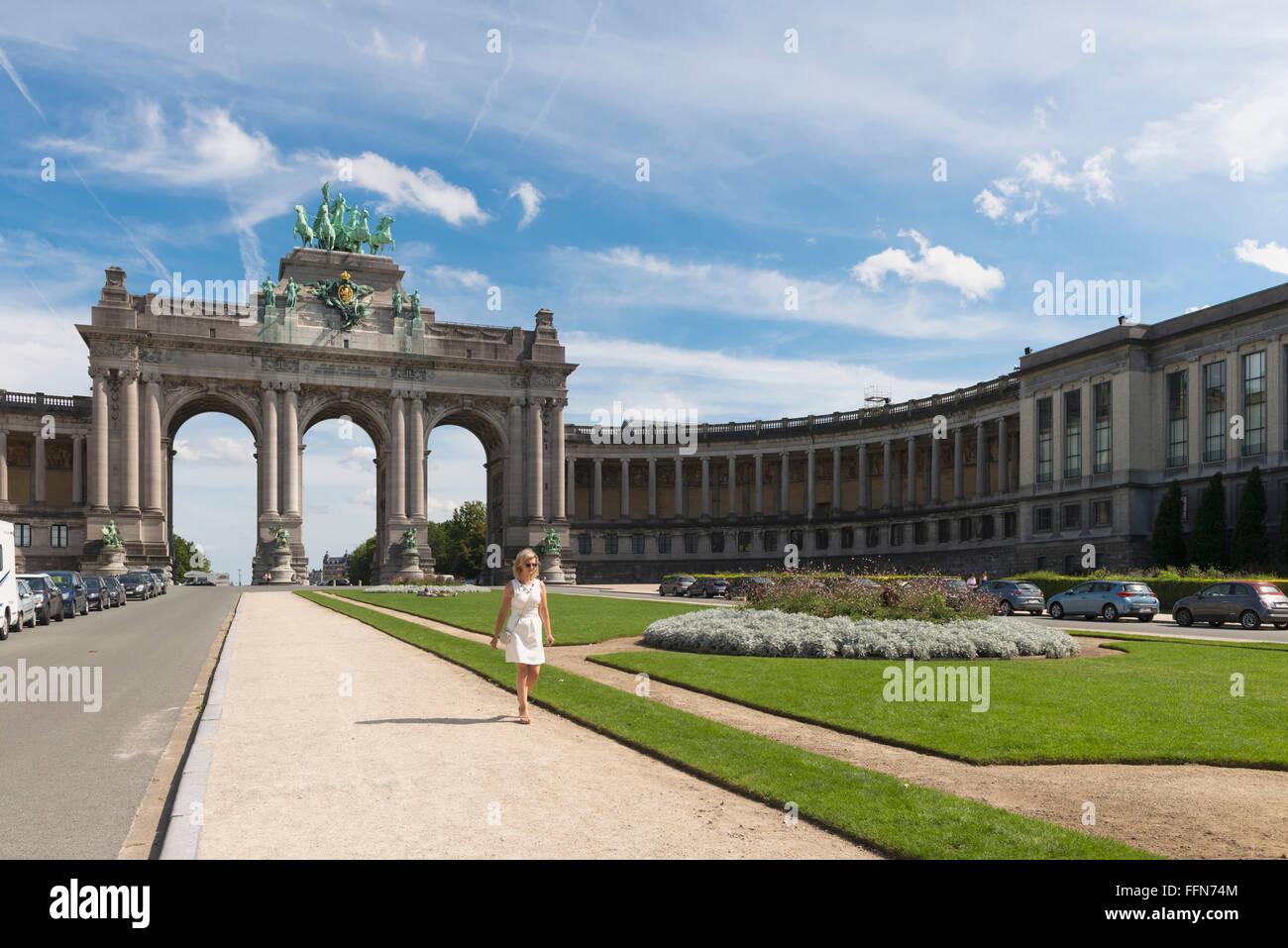 Parc du Cinquantenaire and Triumphal Arch, Brussels, Belgium, Europe - Stock Image