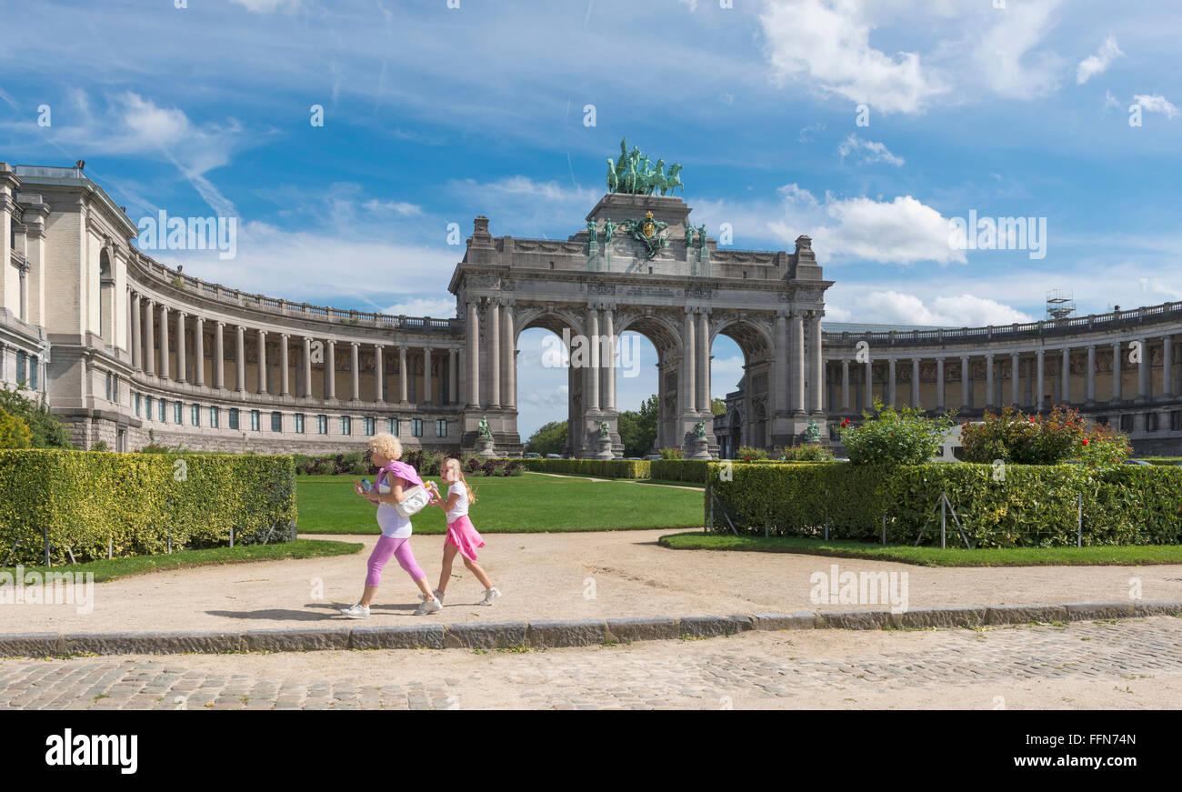 Parc du Cinquantenaire and the Triumphal Arch, Brussels, Belgium, Europe in summer - Stock Image