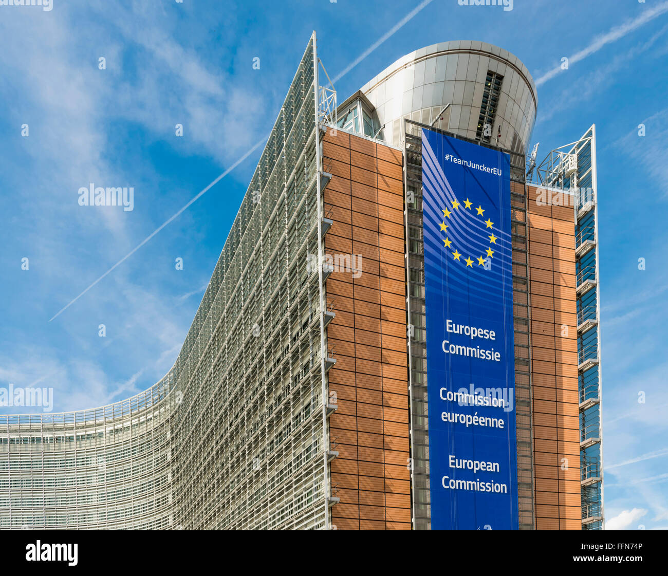 European Commission Headquarters, Berlaymont building, part of the European Parliament, Brussels, Belgium, Europe - Stock Image