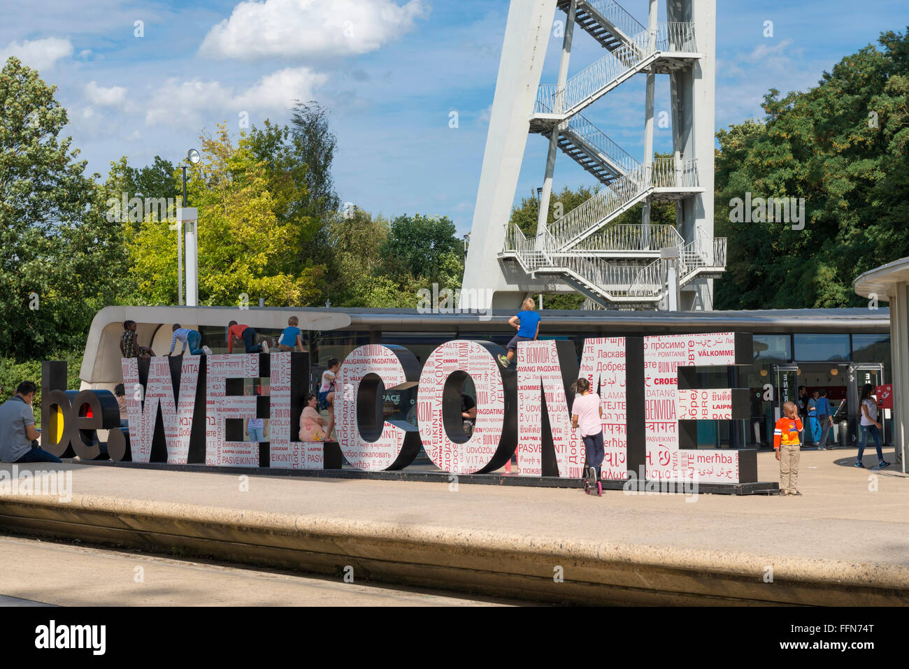 Welcome sign at the Atomium, Brussels, Belgium, Europe - Stock Image