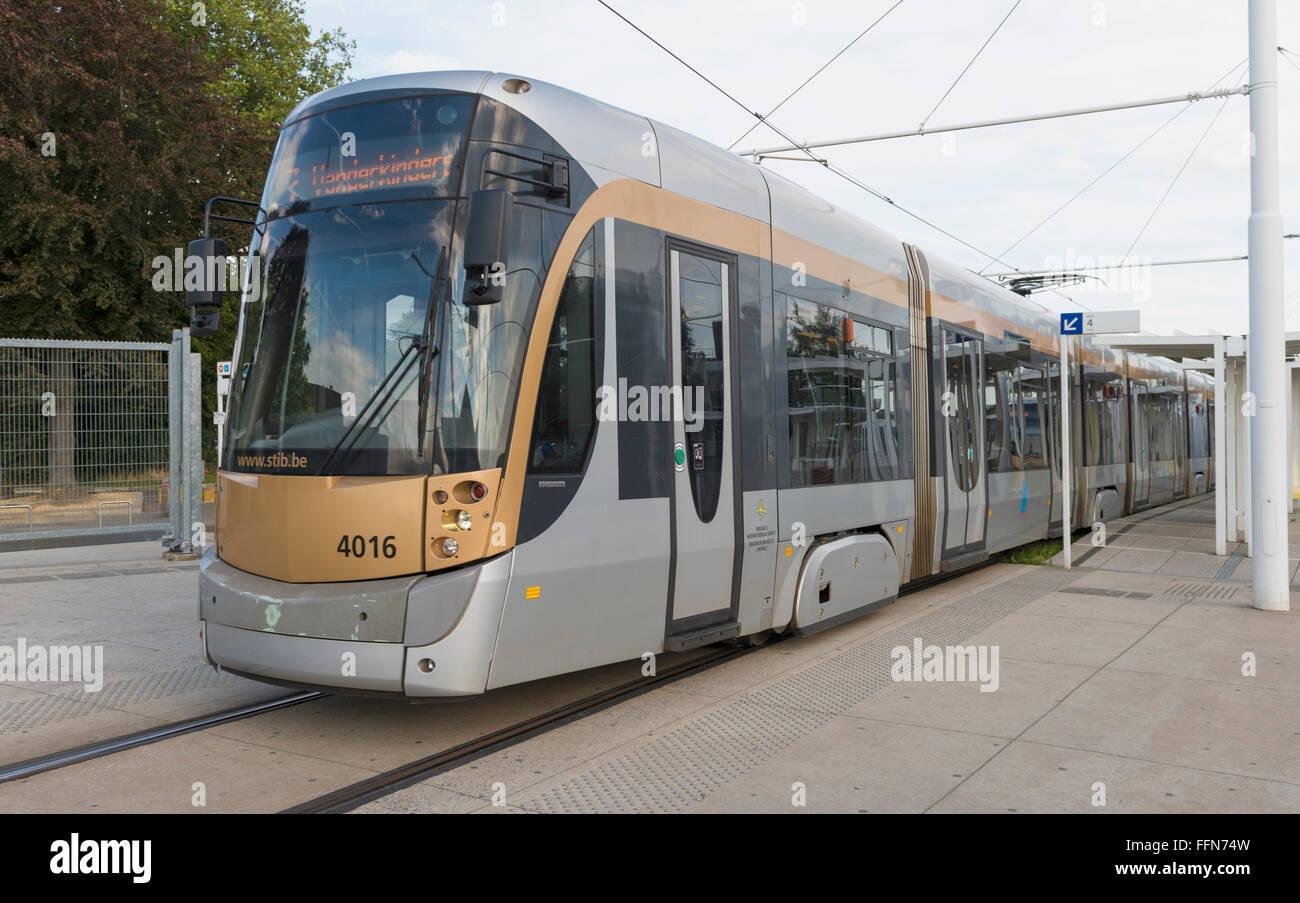 Tram in Brussels, Belgium, Europe - Stock Image