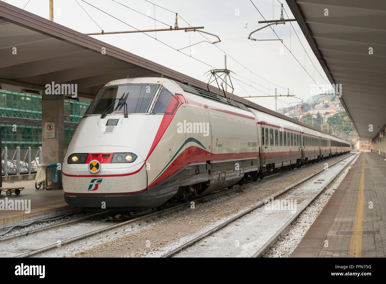 Trenitalia High Speed Train at Trieste Centrale Railway Station, Trieste, Italy, Europe - Stock Image