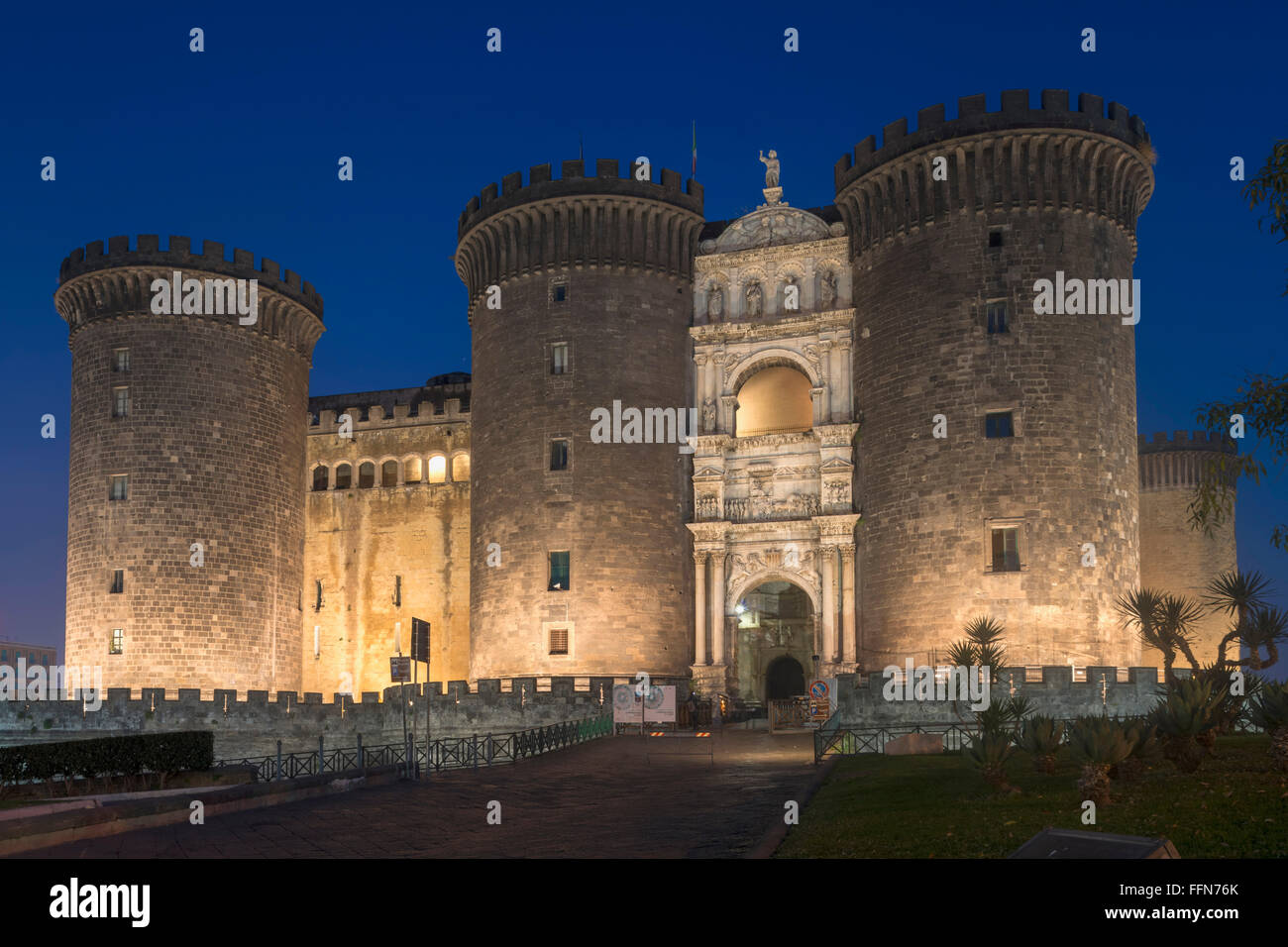 Castel Nuovo, Naples Italy, the New Castle often called Maschio Angioino in Naples, Italy, Europe at night - Stock Image
