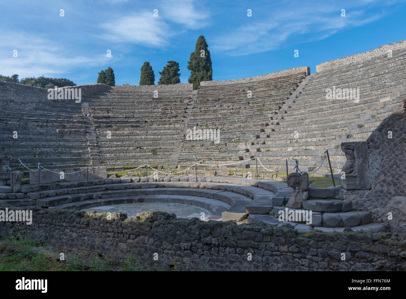 Pompeii Amphitheatre or Roman arena in the ancient city of Pompeii, Italy, Europe - Stock Image