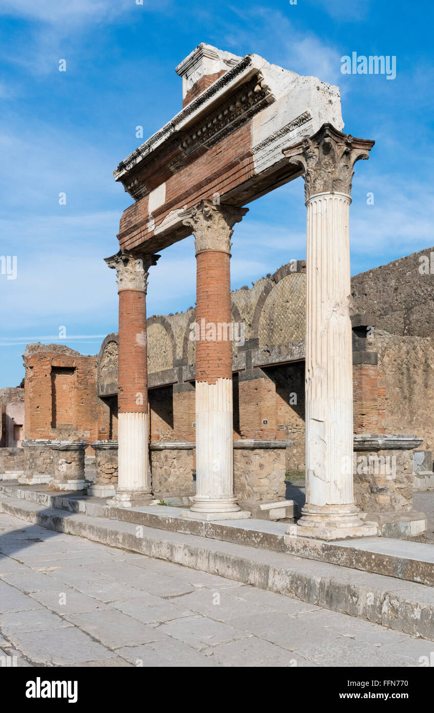 Pompeii Ruins in the ancient Roman city, Italy, Europe - Stock Image